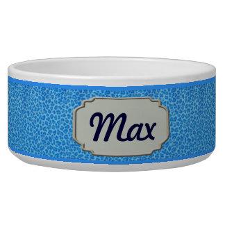 Personalized Blue Leopard Skin Pet Bowl