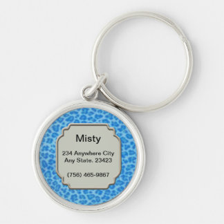 Personalized Blue Leopard Skin Pet ID Tag Keychain
