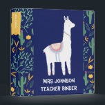 """Personalized Blue Llama Teacher Planning 3 Ring Binder<br><div class=""""desc"""">Custom Teacher Planning Ring Binder - This whimsical design is adorable and modern. On the front is a white llama and your name and Teacher Binder in white text. To the left and right side is a scattering pattern of cactuses and blooms which wraps all the way around to the...</div>"""