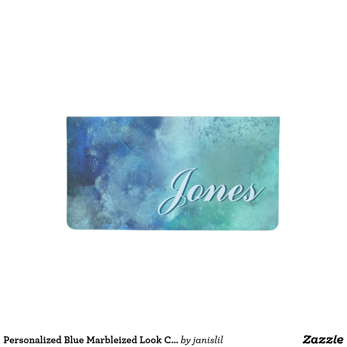 Personalized Blue Marbleized Look Checkbook Cover