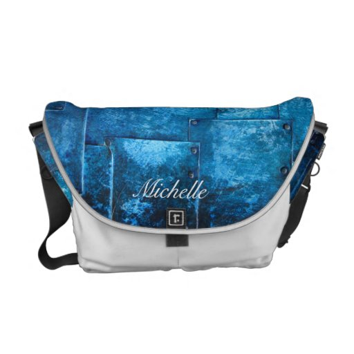 Personalized Blue Metal Plates Messenger Bag