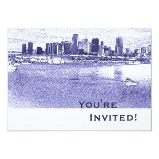 "Personalized Blue Miami Skyline Bon Voyage Party 5"" X 7"" Invitation Card"