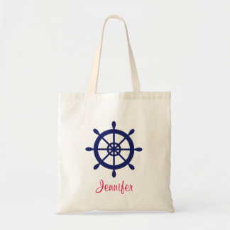 Personalized Blue Nautical Ship Wheel Tote Bag
