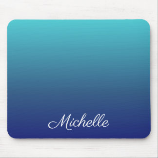 Personalized blue ombre gradient mouse pad