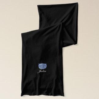 personalized blue owl bird scarf