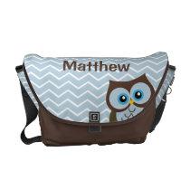 Personalized Blue Owl Diaper Bag Messenger Bag