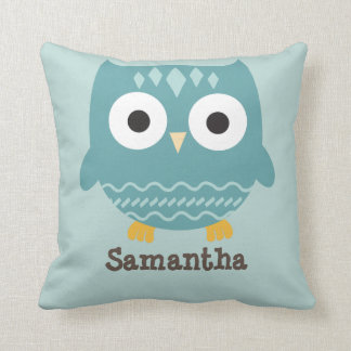 Personalized Blue Owl Pillow