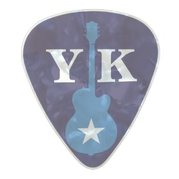 Personalized Blue Pearl Celluloid Guitar Pick by mixedworld at Zazzle