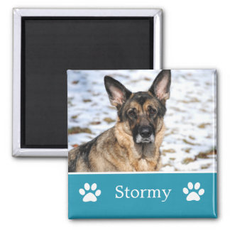 Personalized Blue Pet Photo Magnet