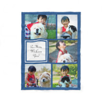Personalized Blue Photo Collage Blanket