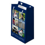 Personalized Blue Photo Mosaic Picture Collage Small Gift Bag