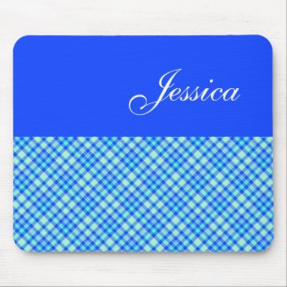 Personalized Blue Plaid Mousepad mousepad