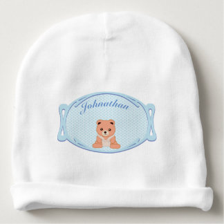 Personalized Blue Polka Dot Baby Bear Baby Beanie