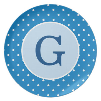 Personalized Blue Polka Dot Plate