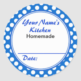 Personalized Blue Polka Dots From the Kitchen of Classic Round Sticker
