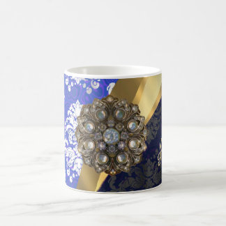 Personalized blue pretty girly damask pattern coffee mug