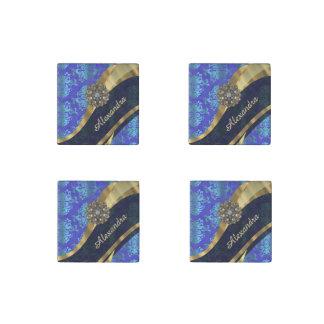 Personalized blue pretty girly damask pattern stone magnet