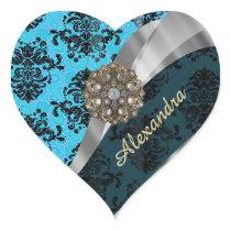 Personalized blue pretty girly damask pattern heart sticker