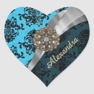 Personalized blue pretty girly damask pattern heart sticker