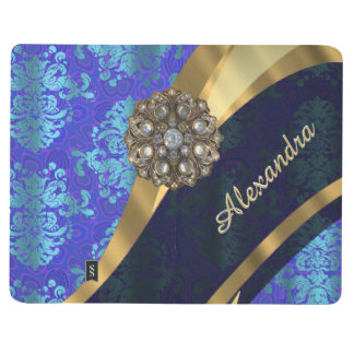 Personalized blue pretty girly damask pattern journal