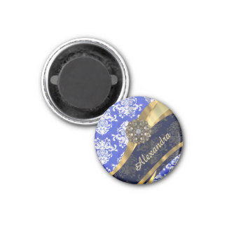 Personalized blue pretty girly damask pattern 1 inch round magnet