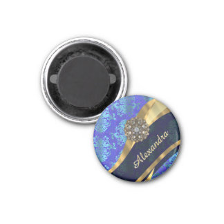 Personalized blue pretty girly damask pattern magnet