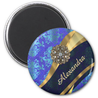 Personalized blue pretty girly damask pattern 2 inch round magnet