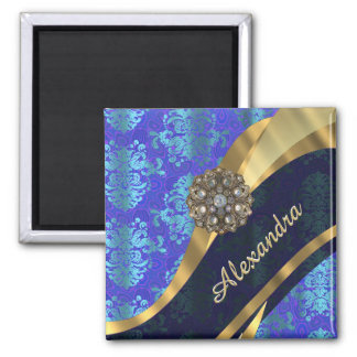 Personalized blue pretty girly damask pattern 2 inch square magnet