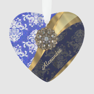 Personalized blue pretty girly damask pattern ornament