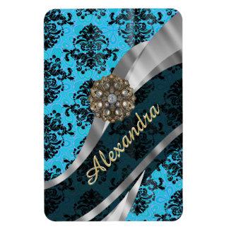 Personalized blue pretty girly damask pattern rectangular photo magnet
