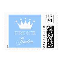Personalized blue prince baby shower stamps
