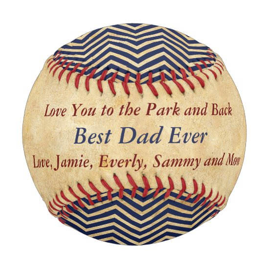 Personalized Blue Red Baseball Best Dad