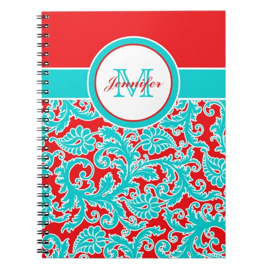 Personalized Blue Red White Damask Notebook