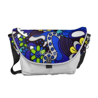Personalized Blue Retro Flowers Messenger Bag