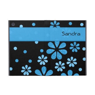 Personalized Blue Retro Flowers On Black Cases For iPad Mini