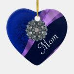 Personalized blue rhinestone christmas ornaments