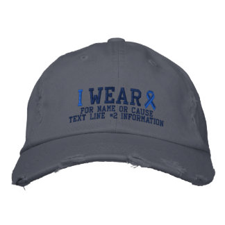 Personalized Blue Ribbon Awareness Embroidery Embroidered Baseball Hat