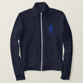 Personalized Blue Ribbon Awareness Embroidery Embroidered Jacket