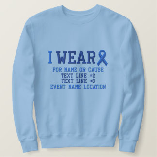 Personalized Blue Ribbon Awareness Embroidery Embroidered Sweatshirt