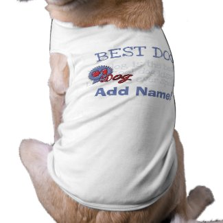 Personalized Blue Ribbon Dog Tshirt petshirt