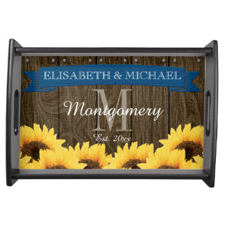 PERSONALIZED BLUE RUSTIC SUNFLOWER WEDDING SERVING TRAY