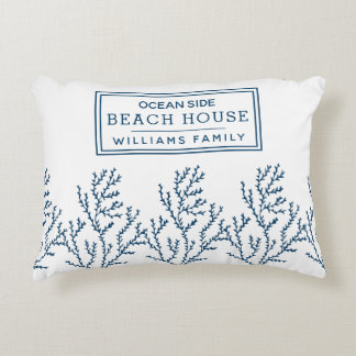 Personalized Blue Seaweed Pattern - Beach House Accent Pillow