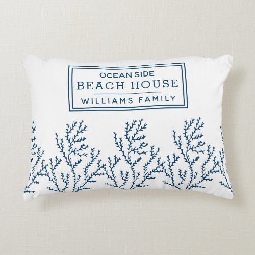 Personalized Blue Seaweed Pattern _ Beach House Accent Pillow