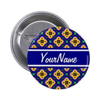 Personalized Blue Shabby Chic Royal Blue and Yello 2 Inch Round Button