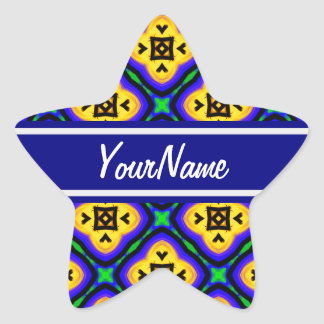 Personalized Blue Shabby Chic Royal Blue and Yello Star Sticker