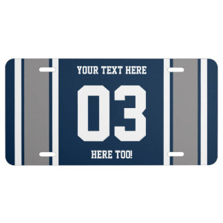 Personalized Blue Silver and White Sports Stripes License Plate