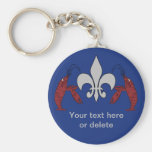Personalized Blue Silver Crawfish Fleur de Lis Key Chains