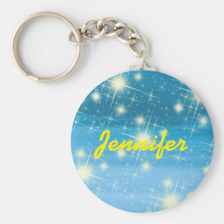 Personalized blue sky with shining stars keychain