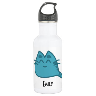 Personalized Blue Smiling Kitty Cat Stainless Steel Water Bottle