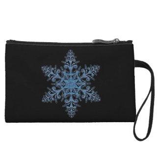 Personalized Blue Snowflake Clutch Purse